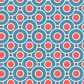 red and blue, red blue, geometric, geometric circles, geometric shapes, geometric pattern, retro, retro 50s, sports, vintage, retro style, 50s styles, sports style.