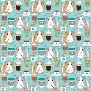 small guinea pigs and coffee on teal