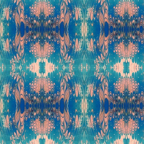 Blue and Pink Marbled Silk Kaleidoscope