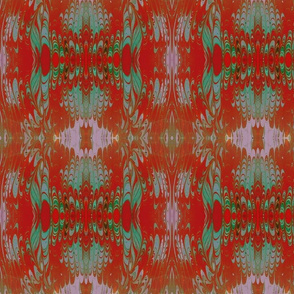 Red and Green Marbled Silk Kalei
