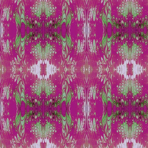 French Fuchsia and Lime Green Marbled Silk Kaleidoscope