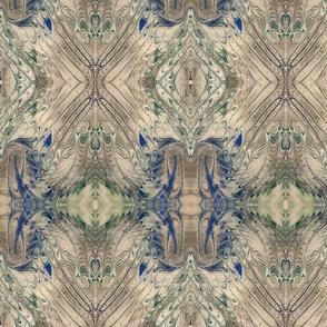 Cream Green and Blue Marbled Silk Kaleidoscope