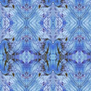Vibrant Blue Marbled Silk Kaleidoscope