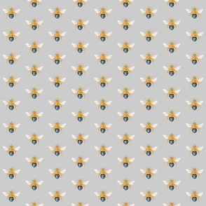 Blue Banded Bee grey background