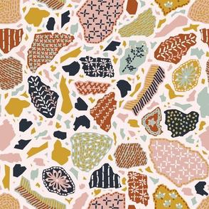 Creative Terrazzo Embroidery Cheatsheet Blush Rust Medium scale
