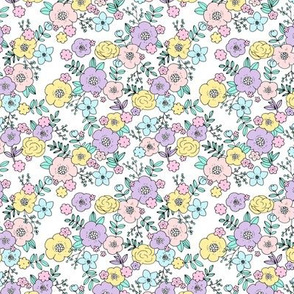 Little liberty spring flowers bright romantic garden design pink lilac yellow easter SMALL