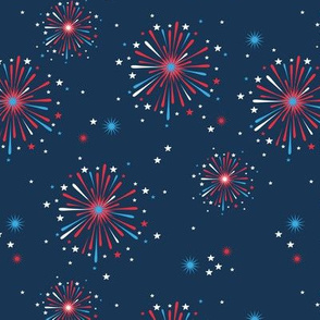 Happy new year celebration fireworks and stars party night navy blue red usa
