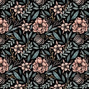 Lamb Illustration's Camellia Floral Pattern - Dark Ground