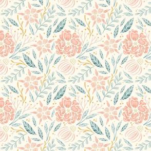 Lamb Illustration's Camellia Floral Pattern - Light Ground