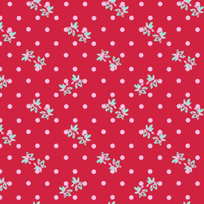 Dots and Flowers on red