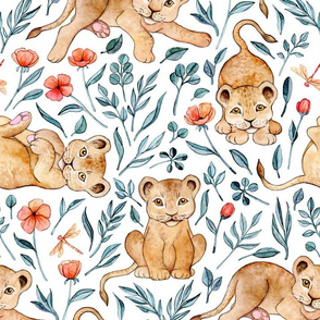 Lazy Lion Cubs and Pretty Poppies on White - Large