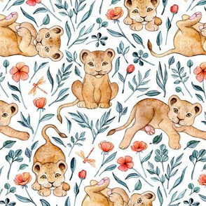 Lazy Lion Cubs and Pretty Poppies on White - Medium