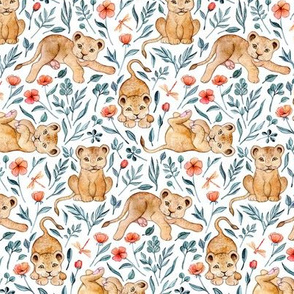 Lazy Lion Cubs and Pretty Poppies on White - Small