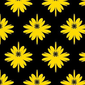 lush meadow with sunny flowers, simplified graphic with big flowers, stylish  and trendy floral pattern, bright summer plant, yellow flowers on black background, catchy spring blooming