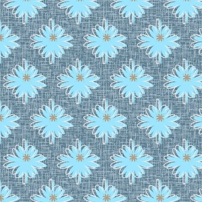 Blooming Cichórium plant graphic flower pattern, summer meadow with blue flowers, trendy and stylish large pattern, gray flax simplified pattern, floral pattern with big flowers.