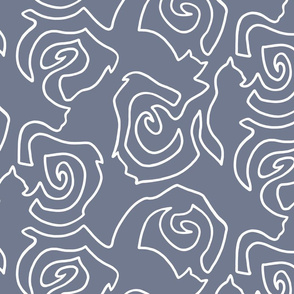 Cats N' Roses - Slate - Large Scale