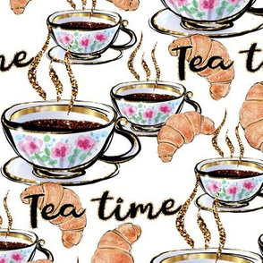 cup of tea, croissants, food pattern, porcelain cup, croissant, food, meal, table napkins, French croissant, baked goods, treat, Pastry, Tea time.