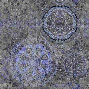 large dreamcatcher mandala grey blue purple  PSMGE