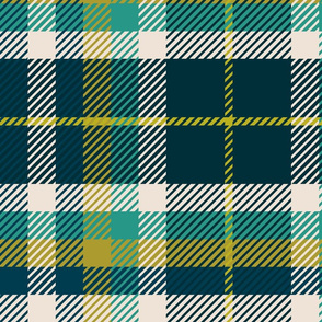 Plaid Blue and Greens Large