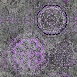 large dreamcatcher mandala grey purple PSMGE