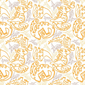 contour dinos lines  yellow white