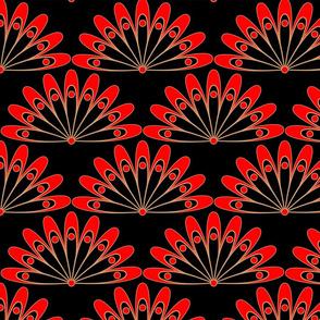 flower pattern, Scales, lace, red flowers, lace pattern, art deco, red black, bohemian, flowers, art deco flowers, luxurious, dramatic, fans.