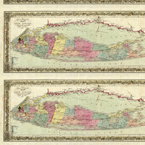 1855 Travellers map of Long Island