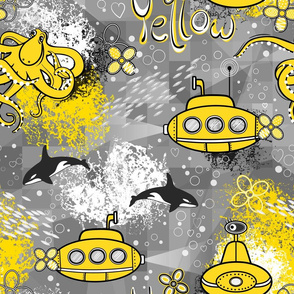 yellow and gray, yellow submarine, design for children, yellow color, kids room ideas, funny, amusing, octopus, octopus design, underwater, the underwater, gray, kids clothes, kids pattern, funny octopus, funny underwater, the underwater..