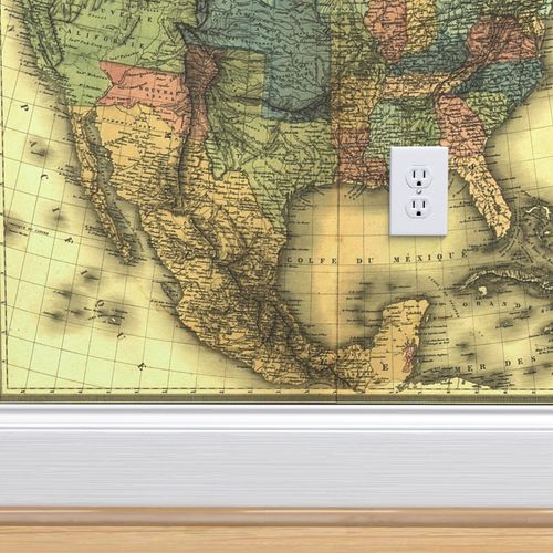 Wallpaper 1848 Map of United States and Mexico map by Duvotenay