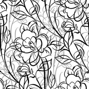 rose pattern, tangled flowers, black white, white roses, lines, black outline, floral pattern, rose flowers, summer flowers, refined, refined, flowers, large scale, summer pattern, black and white line art