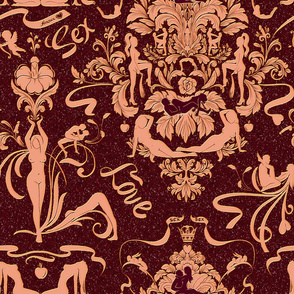 Love, sex, damask, damask designs, Damask pattern, love pattern, baroque, baroque period, baroque pattern, purple damask, red damask, damask print, sexxx