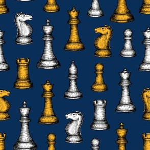 One-Way Chess Pieces (Navy Palette) – Medium Scale