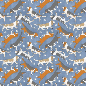 Trotting Basset hounds and paw prints - faux denim