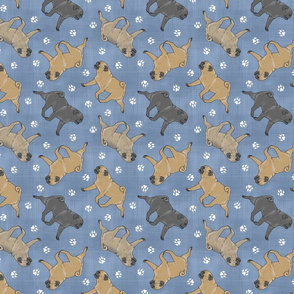Trotting Pugs and paw prints - faux denim