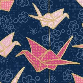 Sadako's Good Luck Cranes/ Blue and Pink