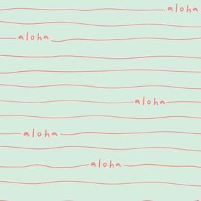 Aloha lines - Coral on Mint
