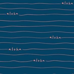 Aloha lines - Coral on Navy