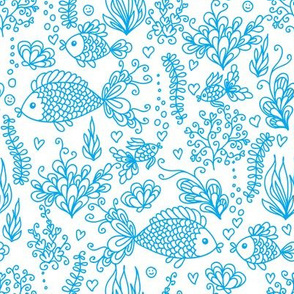 Underwater life - white blue