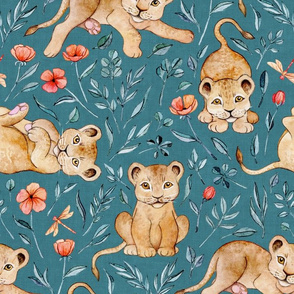 Lazy Lion Cubs and Peach Poppies on Teal Blue Linen - Large