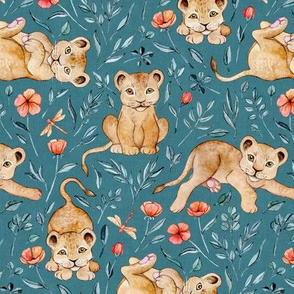 Lazy Lion Cubs and Peach Poppies on Teal Blue Linen - Medium