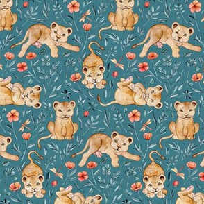 Lazy Lion Cubs and Peach Poppies on Teal Blue Linen - Small