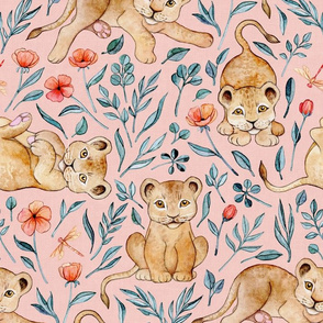 Cute Cubs and Pretty Poppies on Pastel Pink Linen - Large