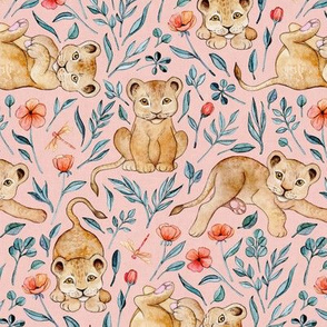 Cute Cubs and Pretty Poppies on Pastel Pink Linen - Medium