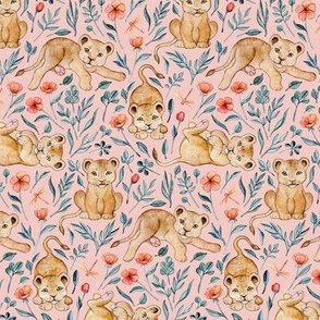 Cute Cubs and Pretty Poppies on Pastel Pink Linen - Small