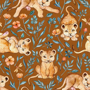 Little Lion Cubs with Peach Poppies on Rust Brown - large