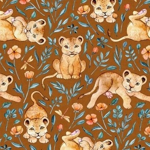 Little Lion Cubs with Peach Poppies on Rust Brown - medium