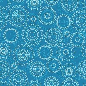 Mechanical gears - aquatic blue