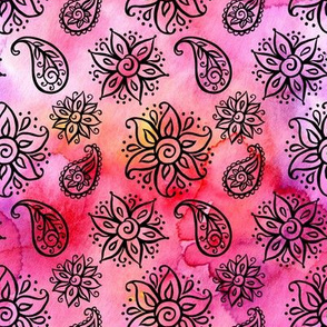 Paisley and flowers - black on pink