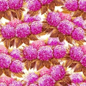 Painting pink hydrangea flowers