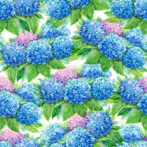 Painting blue hydrangea flowers